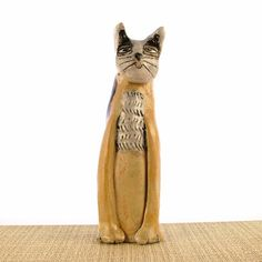Tall Cat Stoneware Clay Ornament  Cat by lovepotteringaround