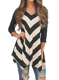 MIHOLL Women Plus Size 34 Sleeve Tunic Tops Loose Basic Shirt XXLarge Black ** Click image for more details.Note:It is affiliate link to Amazon.