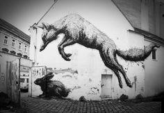 ROA street art in Vienna Bandgasse / 365 Fox House