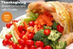 Thanksgiving Bread Cornucopia and Crudite - EASY how to!