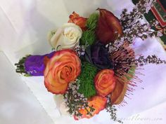White, Green, Sunset and Purple Bridal Bouquet