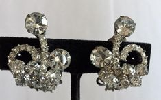 Juliana Earrings, Vintage Art Deco Clear Rhinestone Earrings, Crown Earrings, Spring Summer Wear, Deep Dimensional Sparkling Clear Clipons