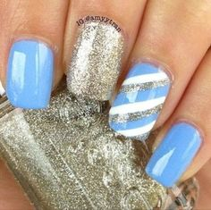 blue, silver & strips