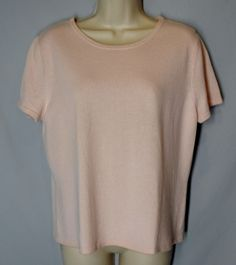 *CHADWICKS size XL light pink CASHMERE SWEATER short sleeves crewneck *