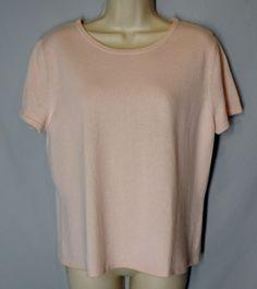 *CHADWICKS size XL light pink CASHMERE SWEATER short sleeves crewneck *