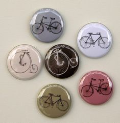Bicycles Vintage Designs Set of 6  Pinbacks by theangryrobot, $4.25