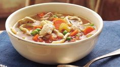 Make great soup just like the old days! Canned broth, diced tomatoes and frozen sweet peas lend to its convenience.