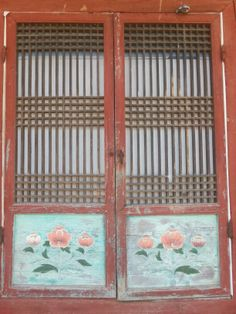 door decorated with peony pattern