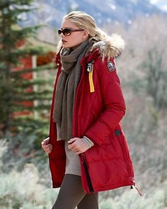 PARAJUMPERS Long Bear Women Red Masterpiece Down Coat