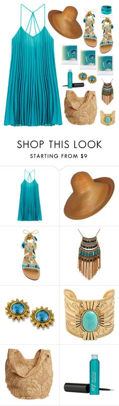 """""""Turquoise Halter Dress"""" by feelgood35 ❤ liked on Polyvore featuring BCBGMAXAZRIA, Mystique, Leslie Danzis and Flora Bella"""