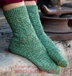 ажурные носки Lace Socks, Crochet Socks, Knitting Socks, Knitted Hats, Easy Knitting Projects, Knitting For Kids, Knitting Designs, Knitting Patterns, Pants Tutorial
