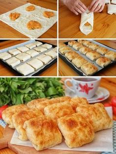 Soft Puff Pastry (with Potato) (with video) - Yummy Recipes - Dessert Yummy Recipes, Easy Sandwich Recipes, Dessert Recipes, Yummy Food, Lunch Recipes, Potato Recipes, Burek Recipe, Pan Relleno, Party Sandwiches