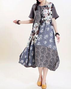 Women long sundress Linen stitching Long short sleeved by MaLieb