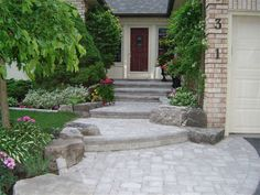 landscaping large front yards | Front Entrance Landscaping, Front Yard Landscaping, Interlocking Brick