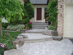 landscaping large front yards | Front Entrance Landscaping, Front Yard Landscaping, Interlocking Brick