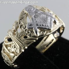 Antique Lattice Two-Tone Masonic Ring