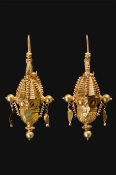 South India   Gold earrings from Tamil Nadu   ca. first half 1900s