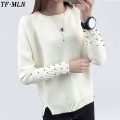 Low Cost $10.10, Buy 2017 Women Winter Cashmere Beading O-Neck Sweater Knitted Shirt Tops Long Sleeves Loose Fashion Sweater Pullover All-match Coats