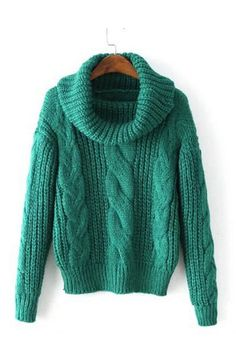 the knit pullover turtleneck cable sweater is featuring long sleeve. Chunky Cable Knit Sweater, Roll Neck Sweater, Loose Sweater, Preppy Style, Pullover Sweaters, Crochet, Green Turtleneck, Green Sweater, Green Shirt