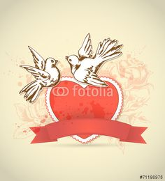 30 Wektor: Vintage card with red heart and dove
