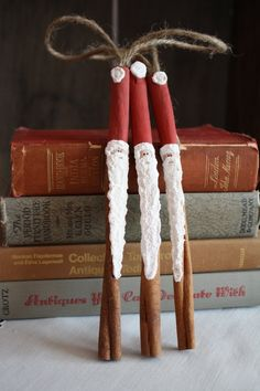 cinnamon stick santa ornaments. (would smell great hanging on the tree)