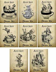 Vintage Alice in Wonderland Printables | Vintage Inspired Alice in Wonderland Drink Me Tea Bag Envelopes Party ...