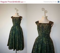 30 off SALE Vintage 1950s Dress / 50s by honeysuckleandhearts, $98.00