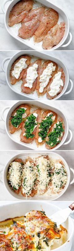 Spinach Chicken Casserole with Cream Cheese and Mozzarella - All of the delicious flavors of cream cheese spinach and chicken are packed into this delicious dinner recipe!