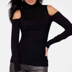 Cold Shoulder Turtleneck Oh, so sexy top! Body-Cling long sleeve turtleneck with cut-out shoulders. Pair with jeans and tall boots for a city street-chic look or a black pencil skirt and heels for that night out on the town! Small/Petite. In very good condition, no rips, no pilling. Rayon and Spandex. Dry Clean. Cache Tops Tees - Long Sleeve