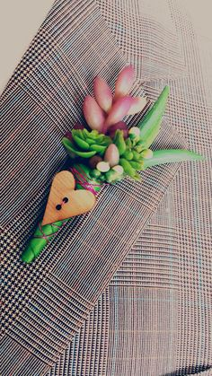 Succulent wedding boutonniere by TellableDesign on Etsy, $12.99