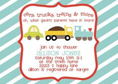 Baby Shower Invitation or Party Invitation Cars by sweetpeababy, $16.00