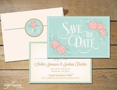 Whimsical Wildflower Save the Date Wedding Card by MyCrayons Papeterie // Mint and Peach, Blush Pink and Gold, Ivory // Hand Drawn artwork and carefully crafted flourishes.