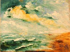 Mare agitato a Ischitella ( Napoli Italia )Anno 1994 . Dipinto dal vero. Olio su tela. Dim. cm 30 x cm 40. Painting, Palms, Artists, Painting Art, Paintings, Painted Canvas, Drawings