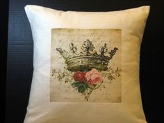 Pillow Cover 16 Inch Elegant Crown with Pink and Red Roses, Shabby Chic and Beautiful. $27.99, via Etsy.