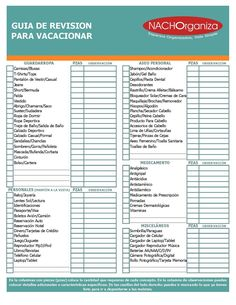 CHECKLIST VACACIONES