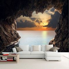 beibehang papel de parede stereoscopic photo wallpaper for living room bedroom TV background beautiful cave mural wall paper Living Room Wall Wallpaper, 3d Living Room, 3d Wallpaper Home, Floor Wallpaper, Wallpaper Murals, Tv In Bedroom, Bedroom Murals, Modern Bedroom, Floor Murals