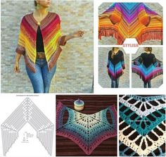 Crochet Shawl Diagram, Crochet Poncho Patterns, Crochet Shawls And Wraps, Crochet Cardigan, Filet Crochet, Crochet Stitches, Knitting Patterns, Knit Crochet, Crochet Gratis