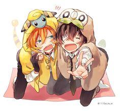 Everything is cuter with animal hoodies Dazai Bungou Stray Dogs, Stray Dogs Anime, Dazai Osamu, Shounen Ai, Anime Ships, Animes Wallpapers, Kawaii Anime, Anime Guys, Anime Characters