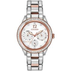 Citizen FD2016-51A Silhouette Women's Swarovski Crystal Chronograph... ($325) ❤ liked on Polyvore featuring jewelry, watches, chrono watch, silver jewelry, white watches, white dial watches and water resistant watches