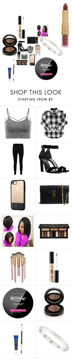 """""""Untitled #2962"""" by fashionicon67 ❤ liked on Polyvore featuring Boohoo, Yves Saint Laurent, OtterBox, Kat Von D, Smashbox, Maybelline, Anastasia Beverly Hills, Stila, Cartier and tarte"""