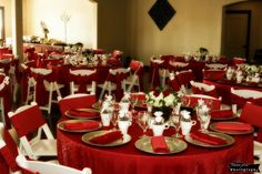 Rent red chair ties, napkins or tablecloths for a winter wedding - The French Bouquet - Vesica Piscis Chapel - Tulsa Pix