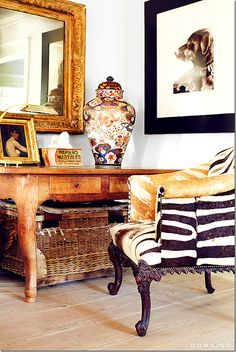 """""""I bought this zebra chair 25 years ago,"""" says Antin. """"The Chinese vase, Turkish ottoman, the French leather chairs—I've had these pieces for years. Zebra Chair, Home Office, Desk Office, British Colonial Decor, Elements Of Style, Design Elements, Interior Decorating, Interior Design, The Fresh"""