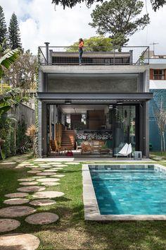 Modern Small House Design, Tiny House Design, Home Building Design, Home Room Design, Gazebo, Casas Containers, Facade House, House Rooms, Future House