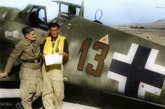 Oberfeldwebel Heinrich Bartels in front of his Messerschmitt Bf 109G-6. Greece 1943.