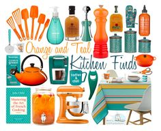 """Orange & Teal Kitchen Finds!"" by curekitty ❤ liked on Polyvore featuring interior, interiors, interior design, home, home decor, interior decorating, Rachael Ray, Sur La Table, Keurig and Teapigs"