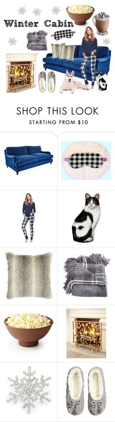 """""""winter cabin of snowflakes"""" by heartsstarsglitter ❤ liked on Polyvore featuring interior, interiors, interior design, home, home decor, interior decorating, Shabby Chic, Splendid, R.J. Graziano and H&M"""