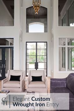 Customize your home with contemporary exterior doors and windows. Our charming yet modern custom made iron front doors and windows transform the design of any home. Check out our gorgeous work on this elegant home for inspiration and ideas. Custom Front Doors, Front Doors With Windows, House Entrance, Elegant Homes, Contemporary Exterior Doors, Modern, Front Door, Aluminium Patio Doors, Patio Doors