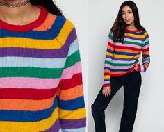 994f83eb6 Rainbow Sweater 80s Slouchy Striped Rainbow Stripe Knit RAGLAN Sleeve Jumper  Pullover 1980s Boho Slouch Vintage Retro Medium