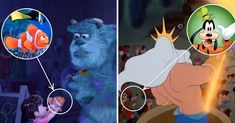 Goofy in The Little Mermaid and Nemo in Monsters, Inc. Monsters Inc, Zootopia, Disney Easter Eggs, Aladdin, Disney Movies, The Little Mermaid, Pixar, Scary, Funny