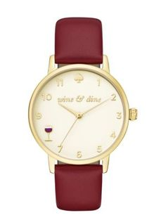 never be late for drinks with friends when you wear the metro watch! a rich merlot leather strap and gold-tone case shine against the glossy cream dial with gold-tone indexes, and a wine glass at the